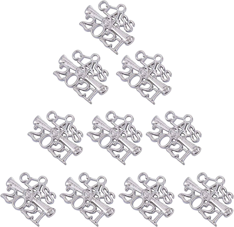 SOIMISS 10Pcs 2021 Graduation Charm Pendant Golden Alloy Year Signet 2021 DIY Pendant Charm for Bracelet Necklace Earring Tassel Christmas Graduation Party Decor Silver