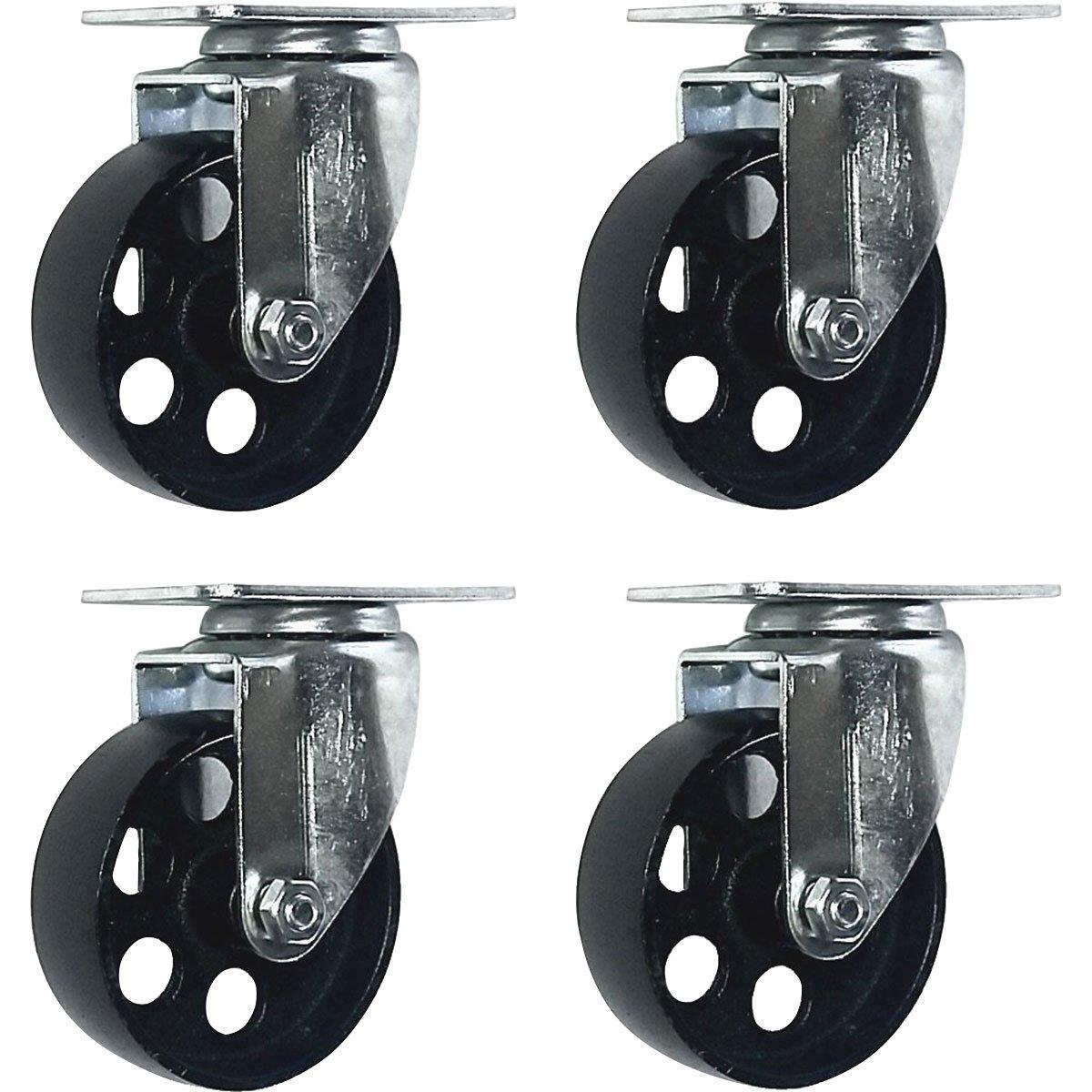 4 All Steel Swivel Plate Caster Wheels Heavy Duty High-gauge Steel (4'' No Brake)