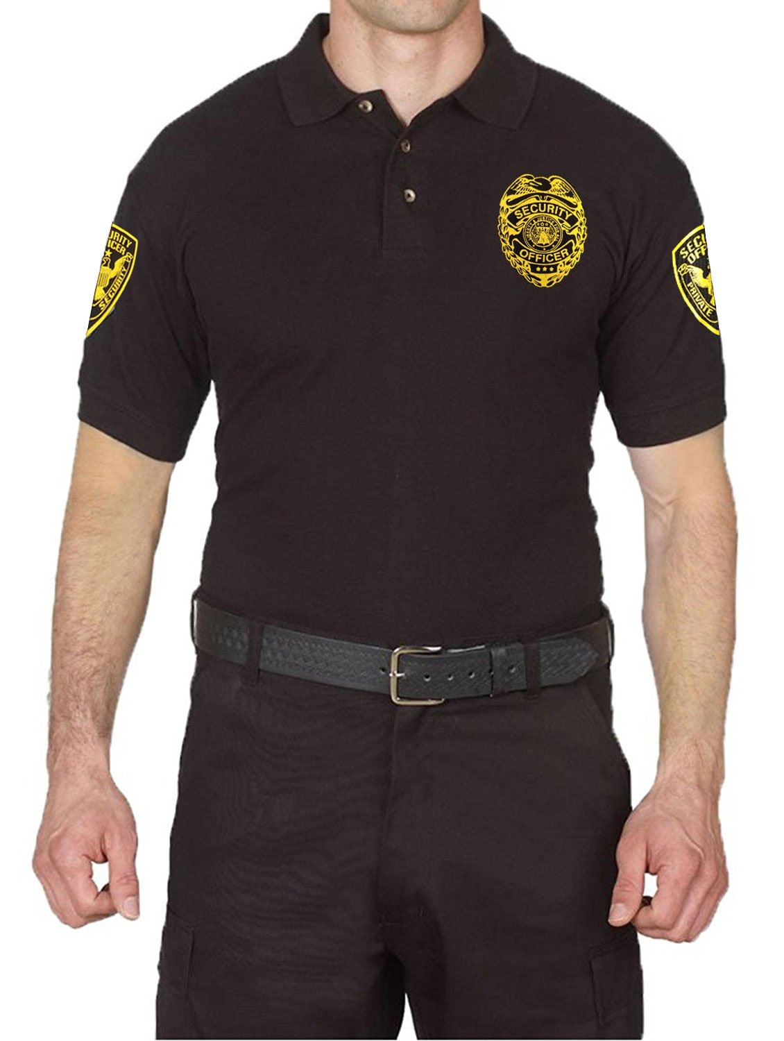 First Class 100% Cotton Security Polo Shirts Black (2XL, Short Sleeve Gold)