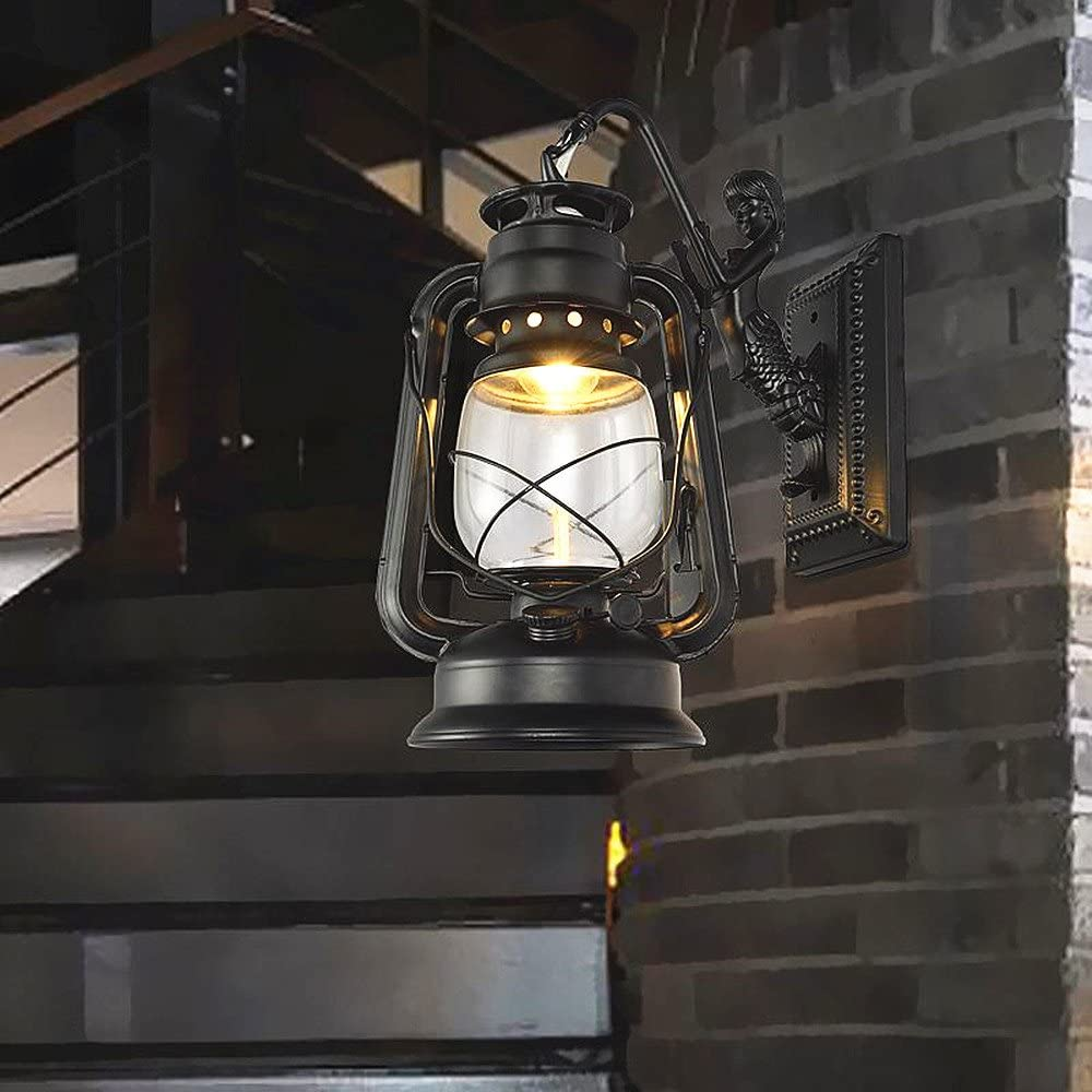 Bronze Bcyhh Wandleuchter Vintage Rustikal Klassische Industrie Wandlampe Schmiedeeisen Laterne 1/×E27 220V Retro Metall Kreative Lampe Wandlicht Wegeleuchten Nacht