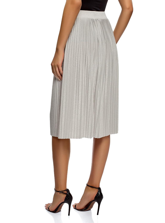 0a4705a3e1 oodji Ultra Women's Pleated Lurex Midi Skirt at Amazon Women's Clothing  store: