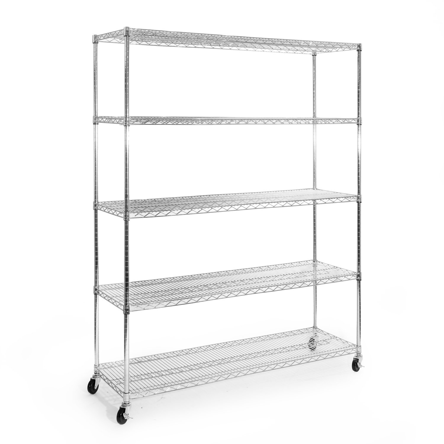 Seville Classics 5-Tier UltraZinc NSF Steel Wire Shelving  /w Wheels, 18'' D x 60'' W x 72'' H