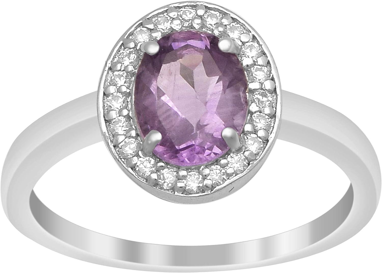 Solitario Acentos Plata de ley 925 1.71 Ctw Anillo de bodas con piedras preciosas de amatista
