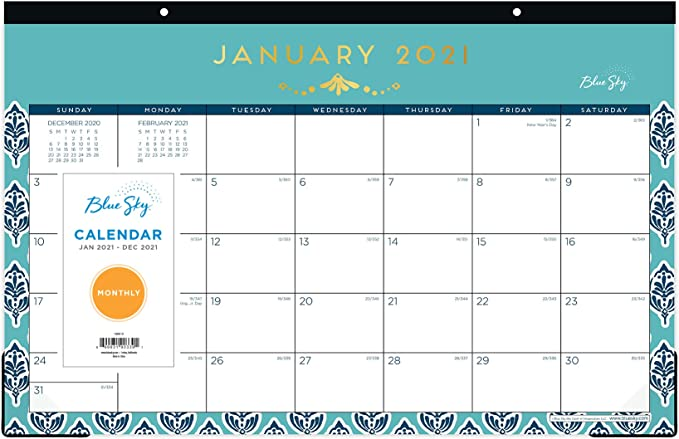 17 x 11 Two-Hole Punched Ruled Blocks Blue Sky 2021 Monthly Desk Pad Calendar Passages