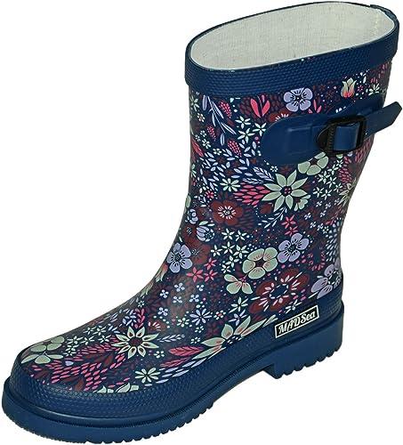 39 Damen Gummistiefel Regenstiefel Stiefel mit Blumen Muster grau//grün Gr