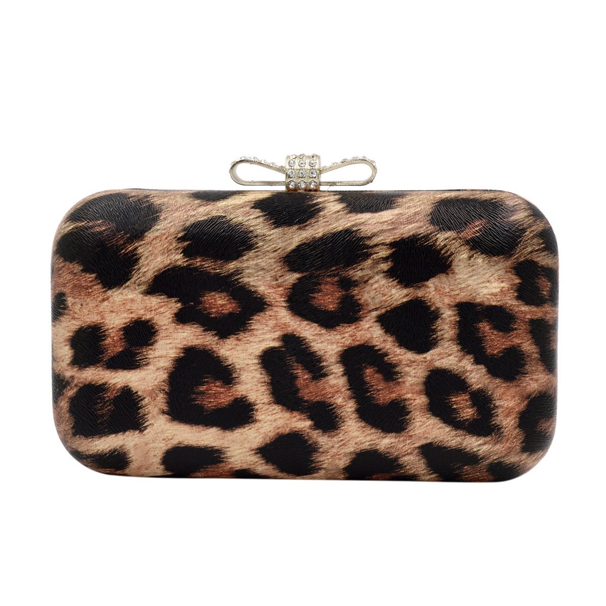 Elegant Leopard PU Leather Crystal Bow Top Hard Clutch, Brown