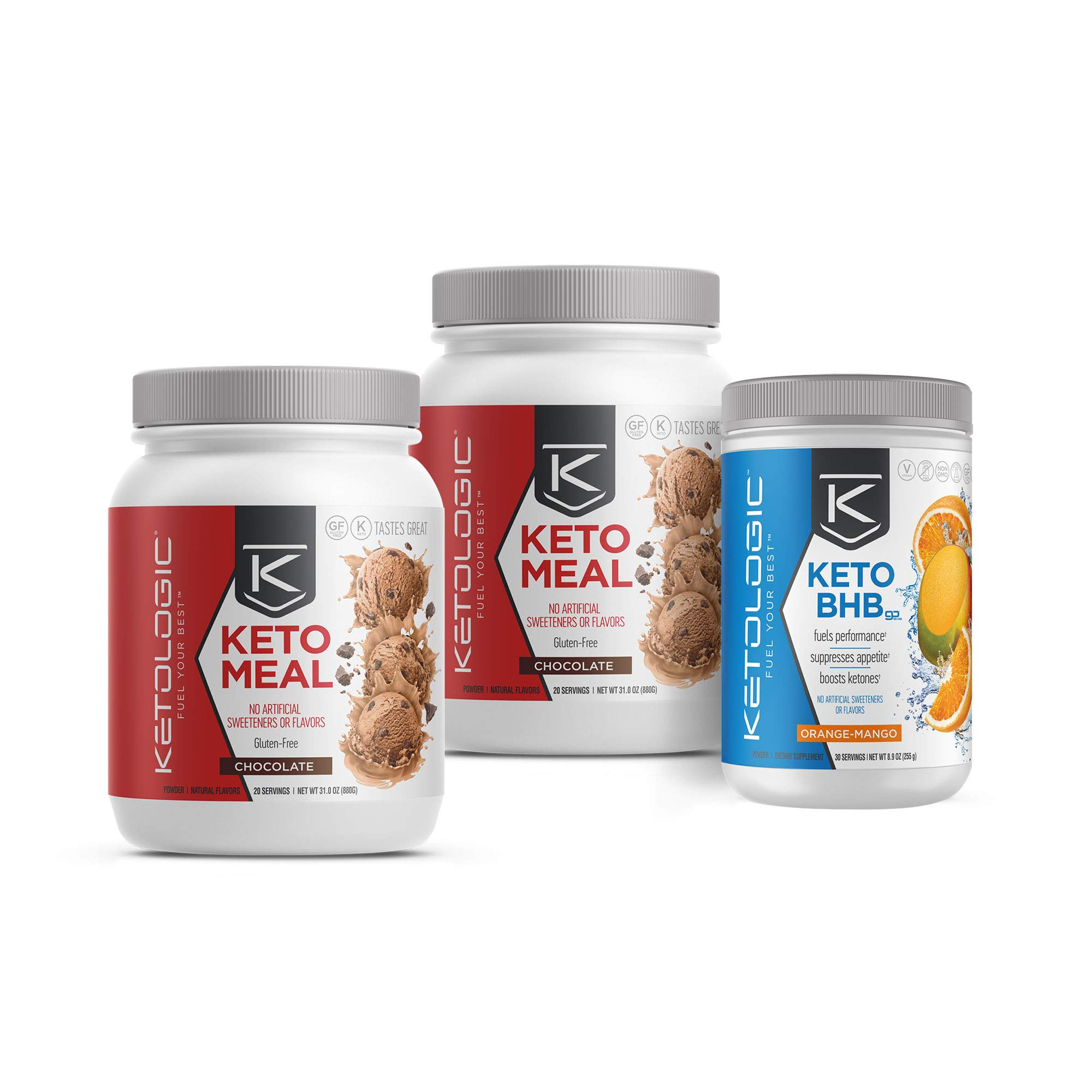 KetoLogic Keto 30 Challenge Bundle, 30-Day Supply | Includes 2 Meal Replacement Shakes with MCT [Chocolate] & 1 BHB Salt [Orange-Mango] | Suppresses Appetite, Promotes Weight Loss & Increases Energy by Ketologic