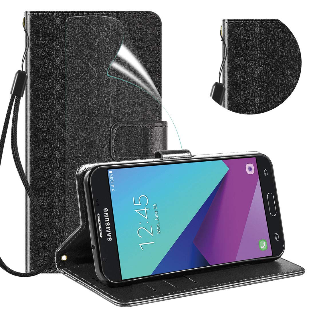 Samsung Galaxy J3 Prime Case with HD Screen Protector, OEAGO Luxury Slim PU Leather Flip Protective Magnetic Wallet Cover Case with Card Slot and Stand Feature for Galaxy J3 Released in 2017 - Black