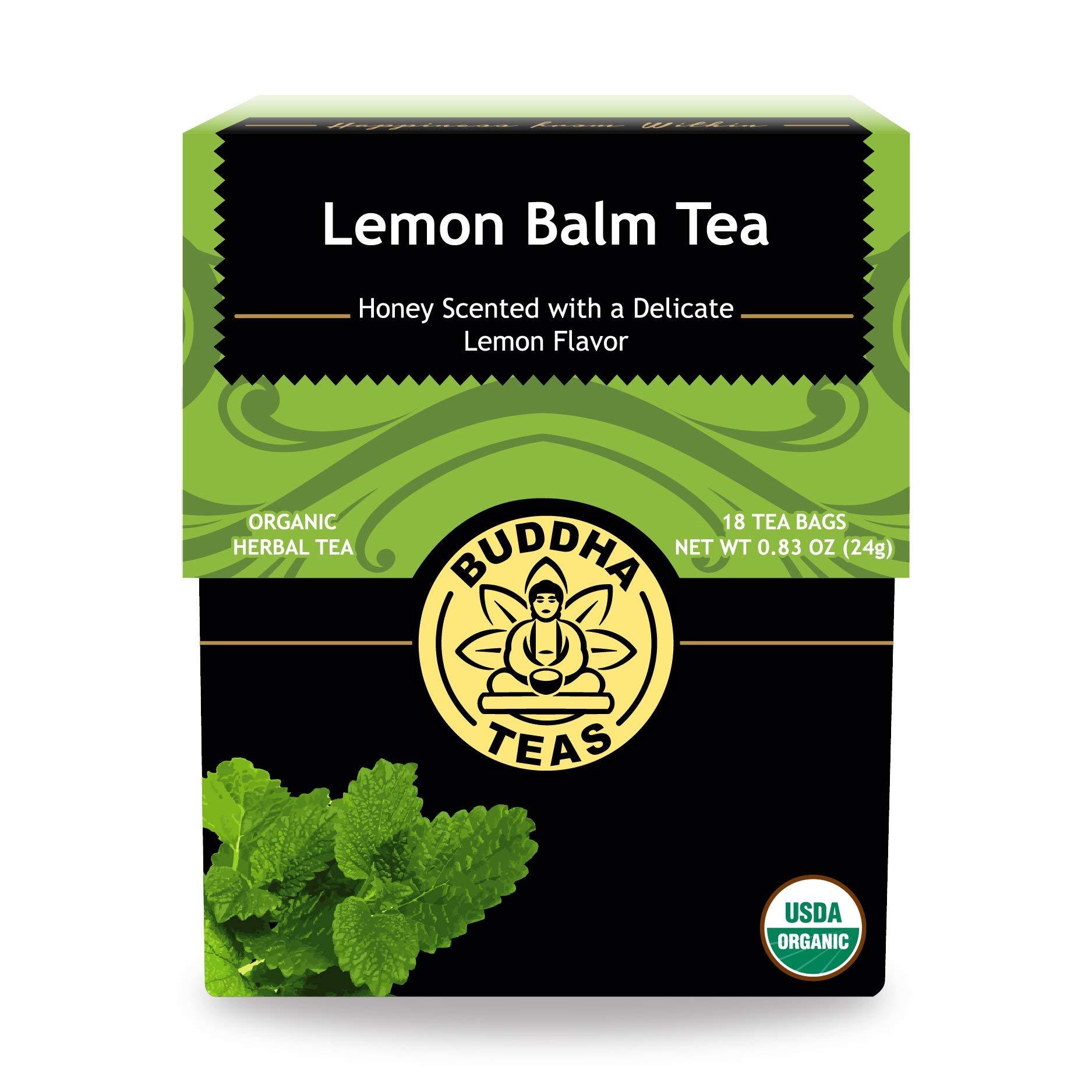 Buddha Teas Organic Lemon Balm Tea   18 Tea Bags   No Caffeine