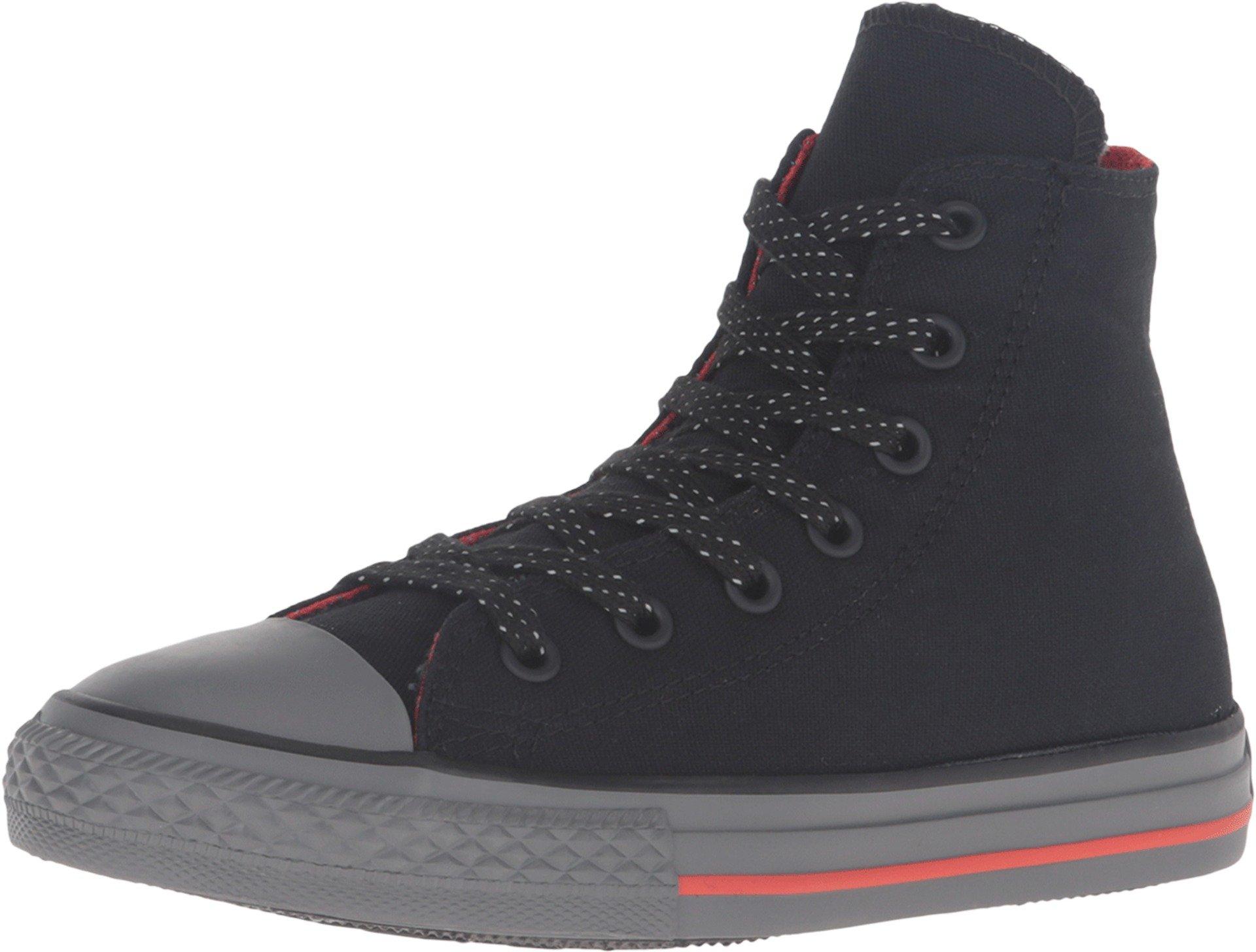 Converse Kid's Chuck Taylor All Star Hi Top Fashion Sneaker Shoe - Black/Signal Red/Thinder - Boys/Girls - 11