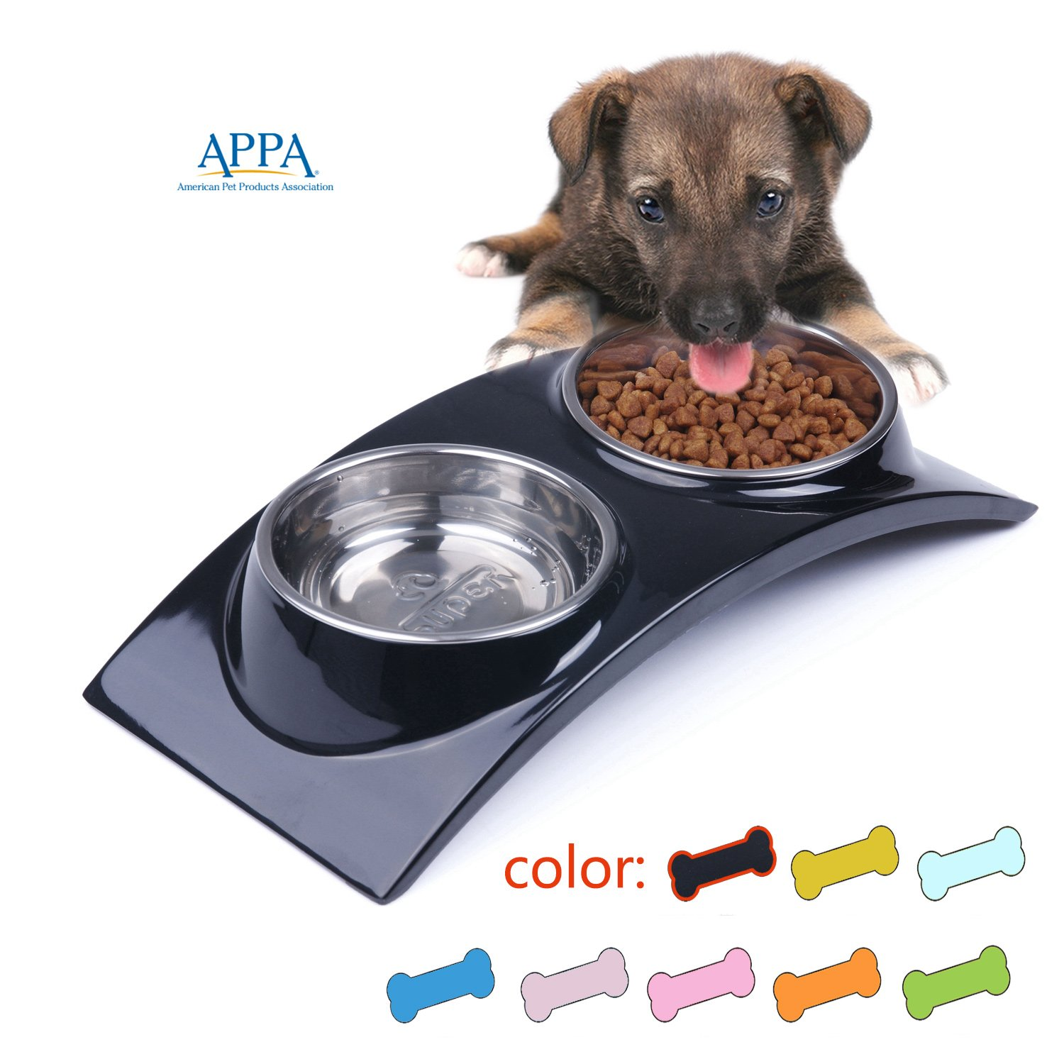 SUPER DESIGN SuperDesign Stainless Steel Double Bowl with Melamine Stand,  for Dog Cat Food and