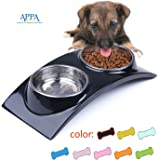 SuperDesign Rainbow Collection, Raised Stainless Steel Double Bowl Set in a Melamine, Non Skid Rubber Bottom, for Dog or Cat, Small, Black by Super Design