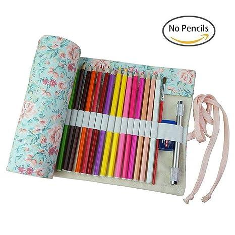dosige 72 ranuras Roll Up estuche para lápices, lápices de ...