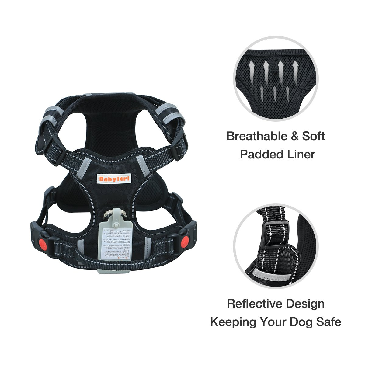 Big Dog Harness No Pull Adjustable Pet Reflective Oxford Soft Vest for Large Dogs Easy Control Harness by Babyltrl (Image #3)