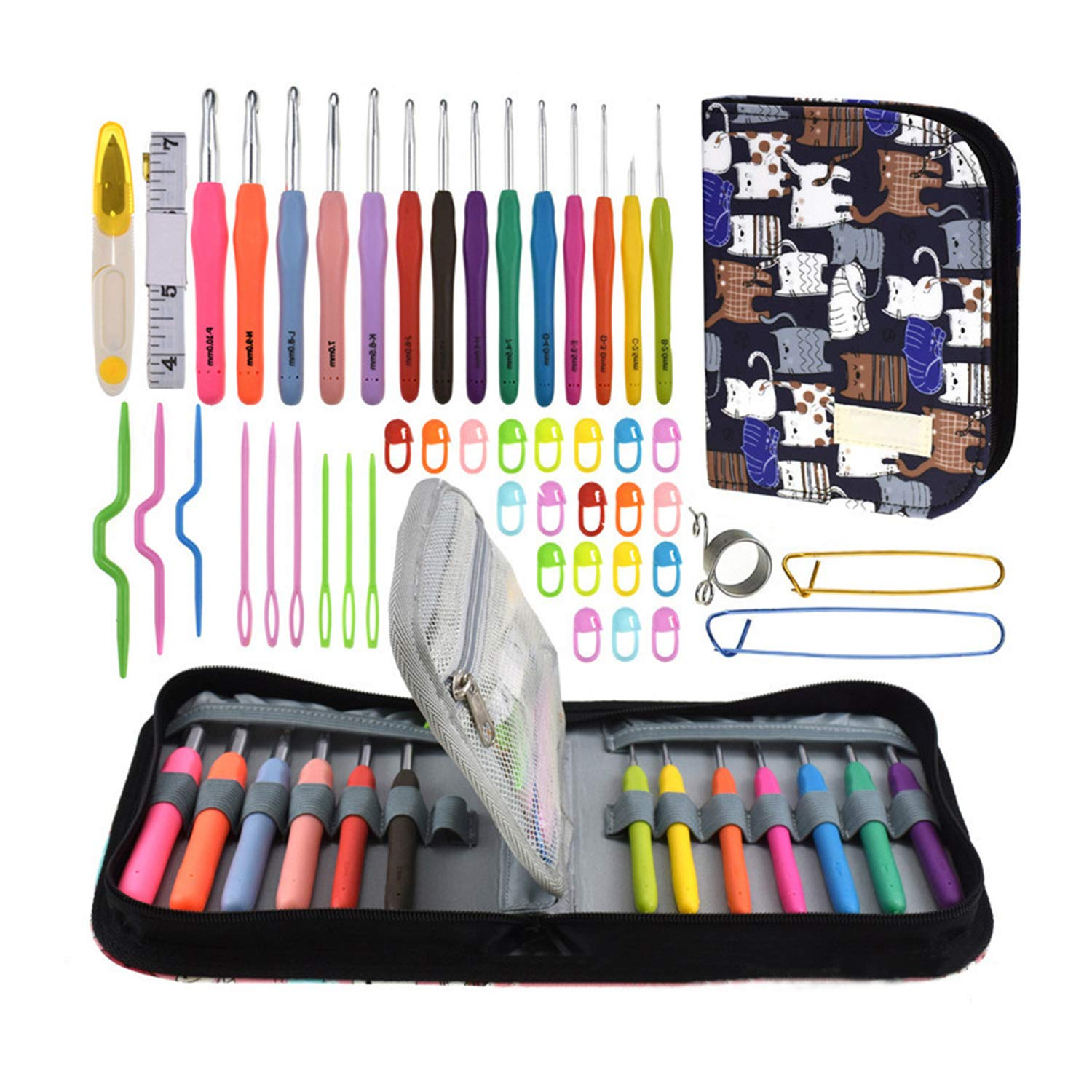 LULUFUN 49 Pcs Aluminum Crochet Hooks Kit with Portable Canvas Storage Bag Including All Basic Crochet Accessories Ideal Gift for Mom Grandma Girlfriend (Black)