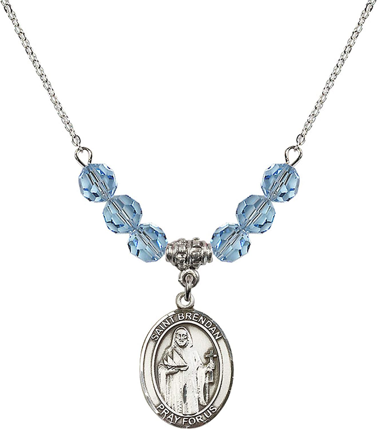 Bonyak Jewelry 18 Inch Rhodium Plated Necklace w// 6mm Blue March Birth Month Stone Beads and Saint Brendan The Navigator Charm