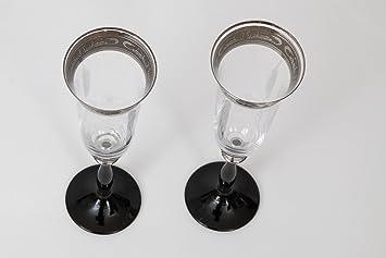 190 ML-Lot de 6 Cristal 24/% Plomb Argent avec Gravure et Pied Noir Bohemia Cristal-Angela-Fl/ûte /à Champagne