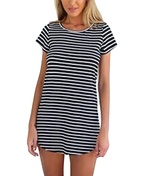 e8dd6f0c95776 ZANZEA Women Striped Short Sleeve Blouse Tee Shirts Top Mini Dress Black US  10