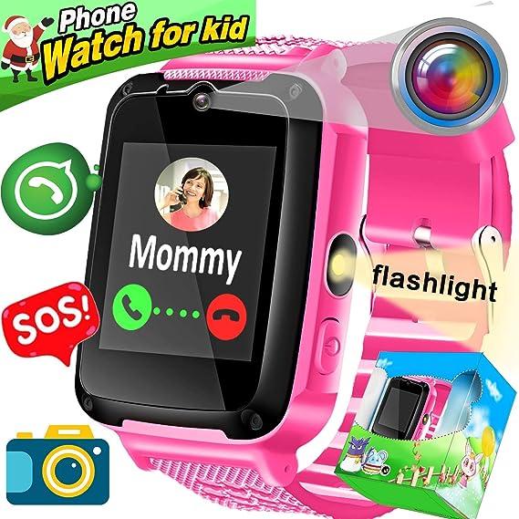Kids Smartwatch Phone, Amenon Smart Watch para Niños Niños Chicas Vacaciones Regalos de cumpleaños SOS Tracker Fitness Tracker con Llamada Reloj ...