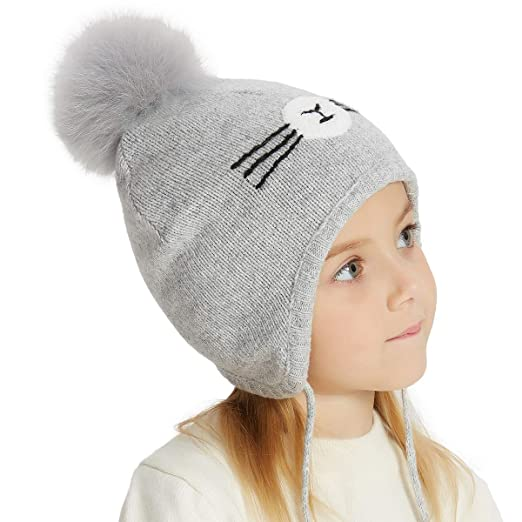 f929c5a4637 Amazon.com  SOMALER Toddler Winter Hats for Kids Boys Girls Fox Fur ...