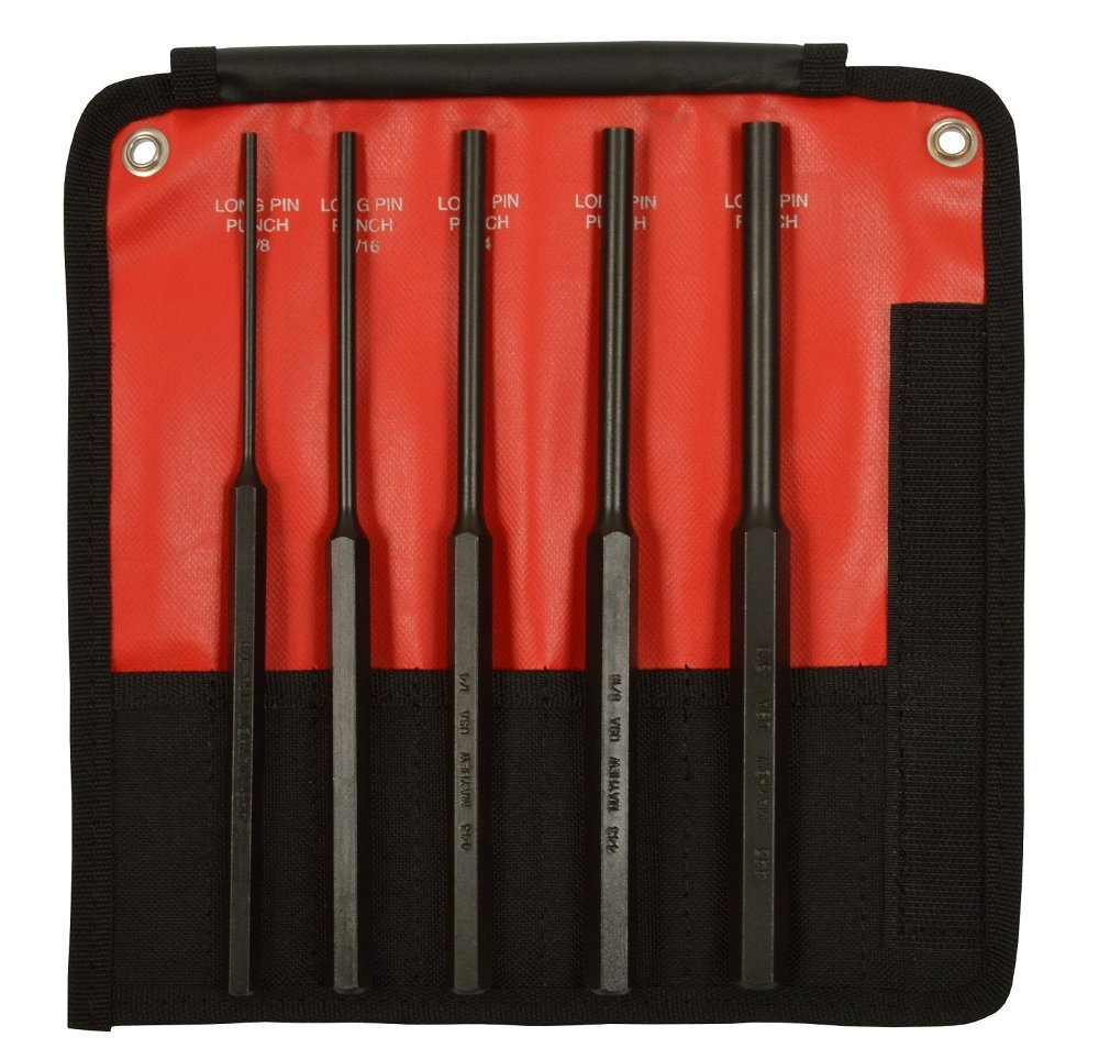 Mayhew Pro 62065 5Piece Pin Punch Set with Extra Long Pin Lengths by Mayhew Tools