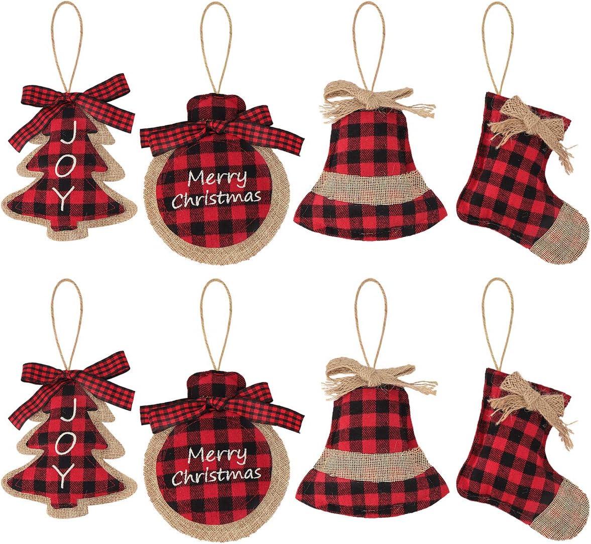 Ivenf Christmas Decorations Tree Ornament, 8 Pcs Red Black Buffalo Check Plaid Stitching Burlap Hanging Ornaments, Tree Ball Bell Stocking Shaped Hanging Decor for Holiday Xmas Party Decorations Gift