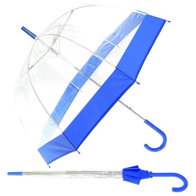 Paraguas transparente de paseo para mujer (Ver descripción/Azul)