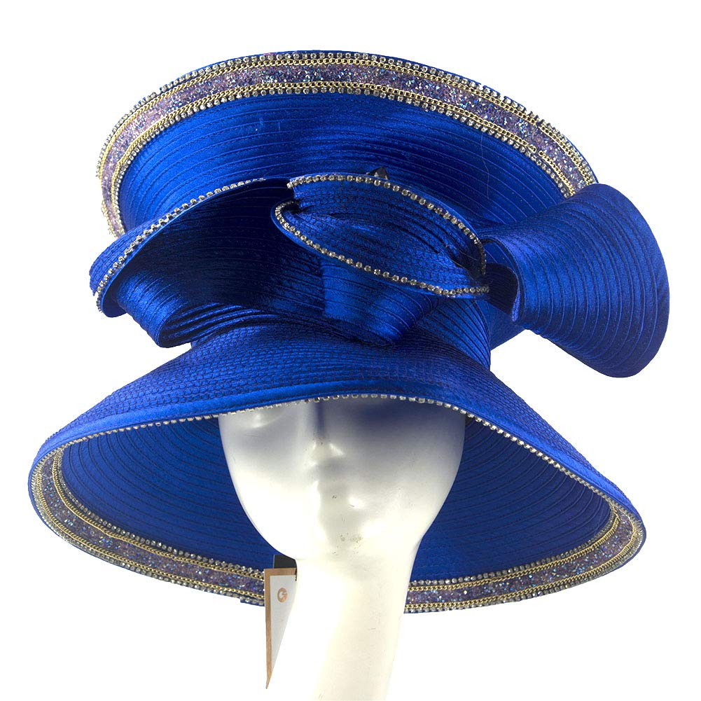 June's Young Women Church Hats Navy Color Elegant Lady Party Wear (RoyalBlue)