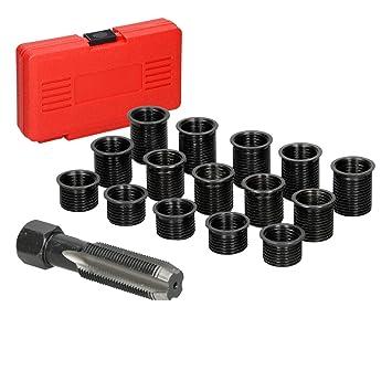 ECD Germany Kit de reparación de bujías Tapones roscados de M14 x 1,25 mm Juego de 16 Piezas: Amazon.es: Coche y moto