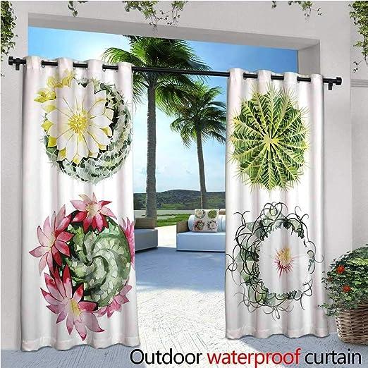 Cactus Outdoor- Cortina de privacidad de pie para Exteriores con Vista al mar y Plantas de Cactus Impreso para Porche Delantero Cubierto Patio Gazebo Dock Beach Home Multicol: Amazon.es: Jardín