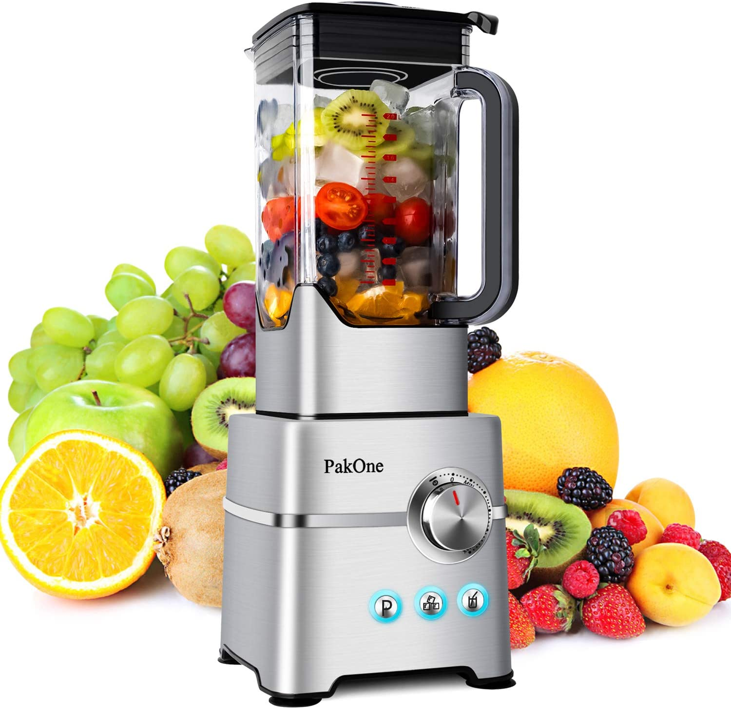 Countertop Smoothie Blenders for Kitchen-1800W Household Professional High Speed Shakes Blender 2L BPA Free Dishwasher-Safe Tritan Jug with 3 Blending Preset Programs and Total Speed Control Switch