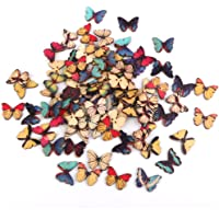 Generic Butterfly Wood Buttons for Sewing DIY Craft - Brown