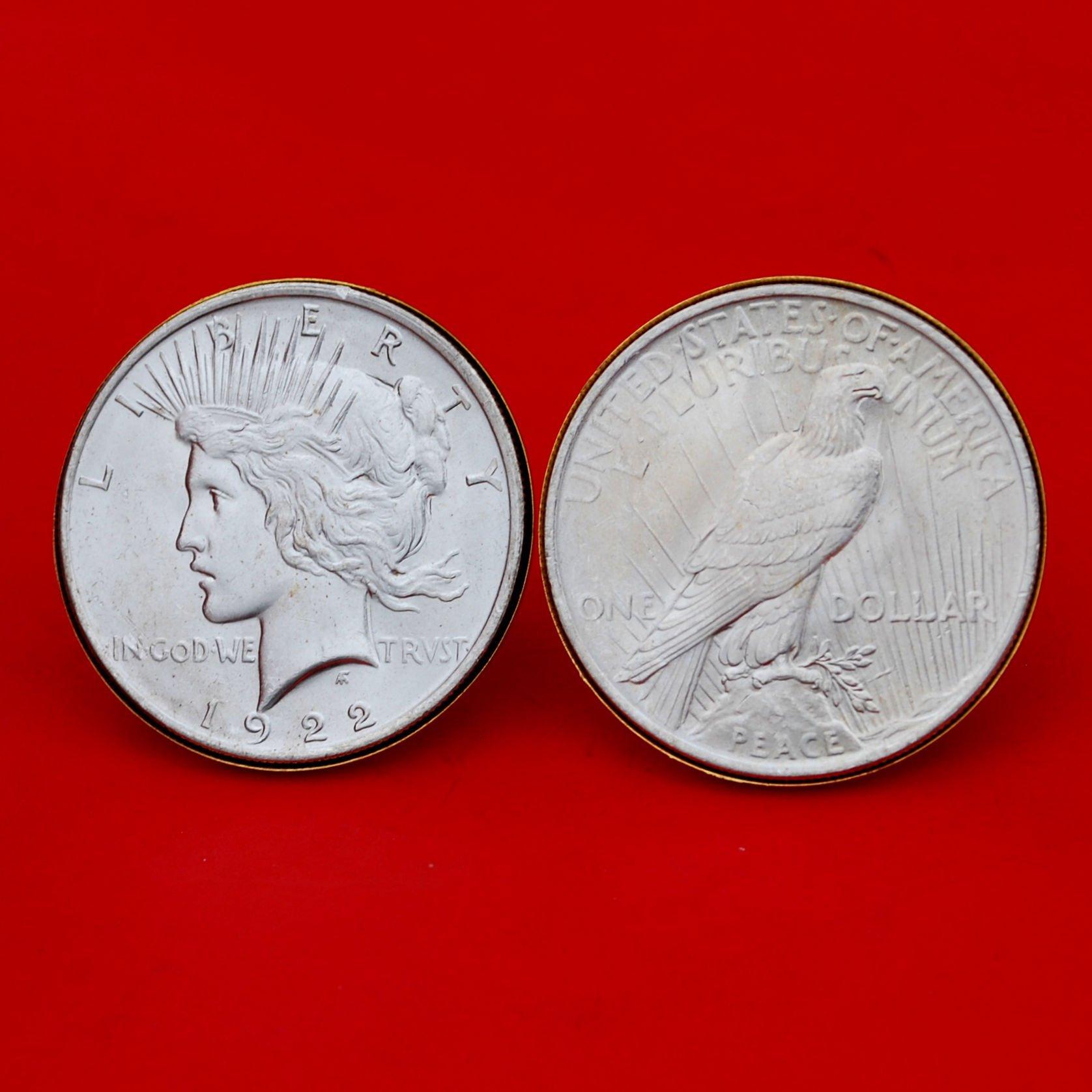 US 1922 Peace Silver Dollar BU Uncirculated Gold Cufflinks NEW - OBVERSE + REVERSE