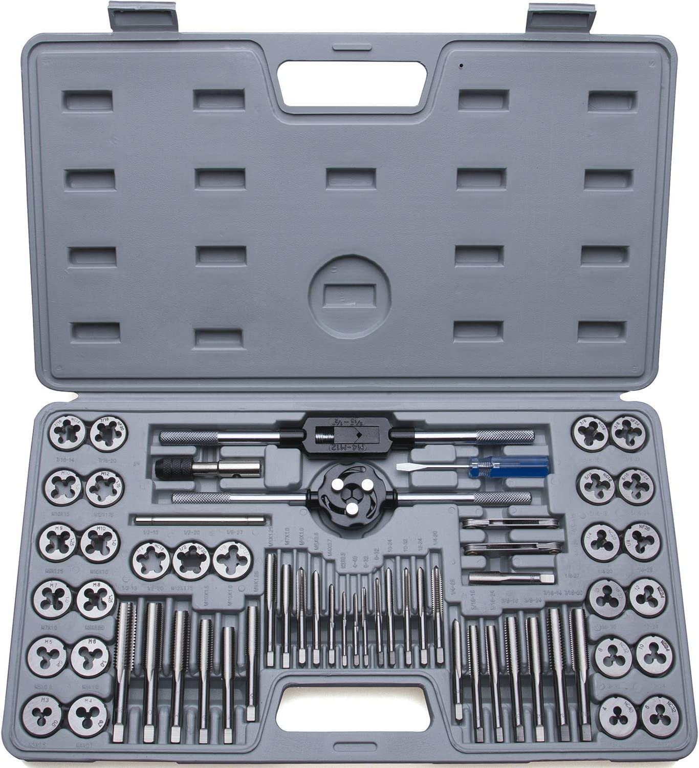Essential Threading and Rethreading Tool Kit with Complete Accessories and Storage Case Coarse and Fine Threads 60-Piece Master Tap and Die Set Include Both SAE Inch and Metric Sizes