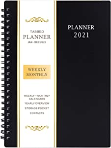 2021 Planner - Weekly & Monthly Planner with Flexible Cover, Jan.- Dec, Strong Twin - Wire Binding, Round Corner,Improving Your Time Management Skill