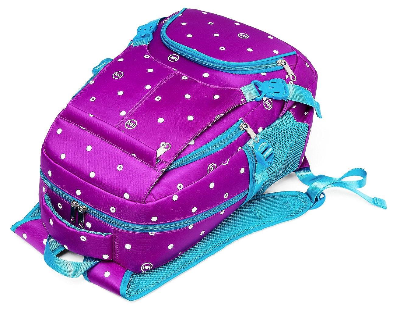 Amazon.com | Polka Dots School Backpacks for Girls Kids Elementary School Bags Bookbag (Polk-Dot, Purple&Blue) | Kids Backpacks
