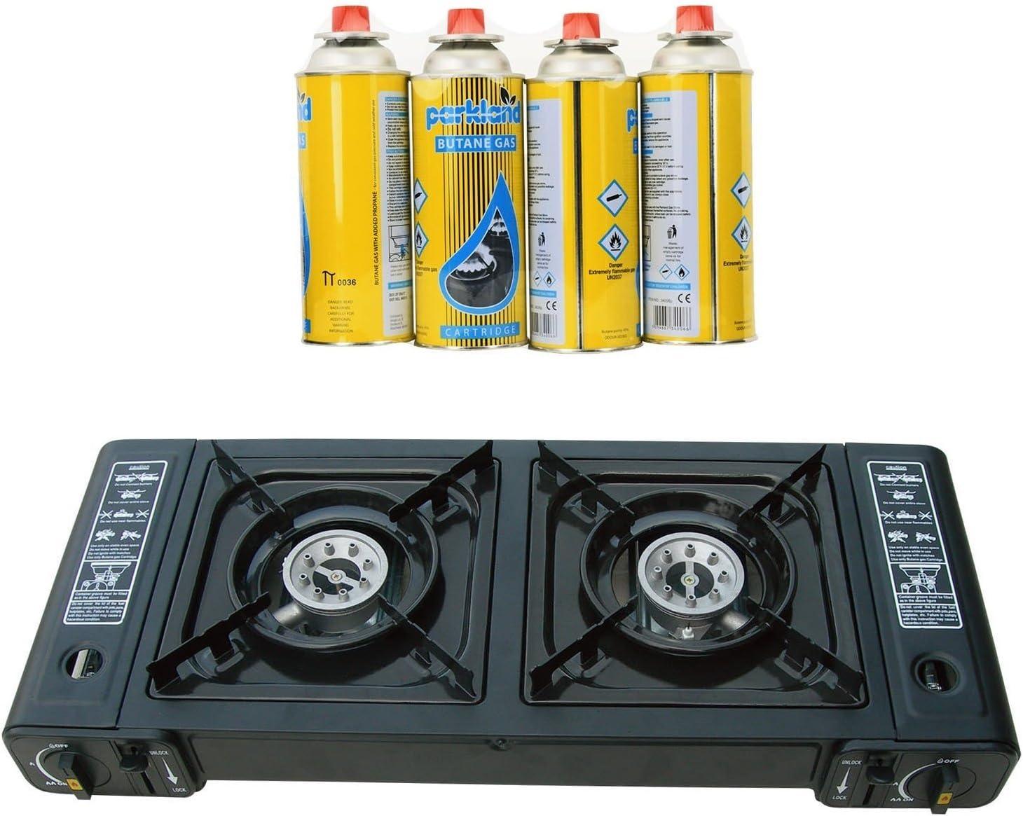 Portátil Dual Doble quemador de camping gas butano Estufa de ...