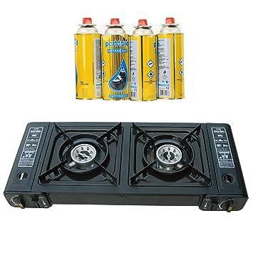 Portátil Dual Doble quemador de camping gas butano Estufa de gas Cooker + 4 recargas: Amazon.es: Deportes y aire libre