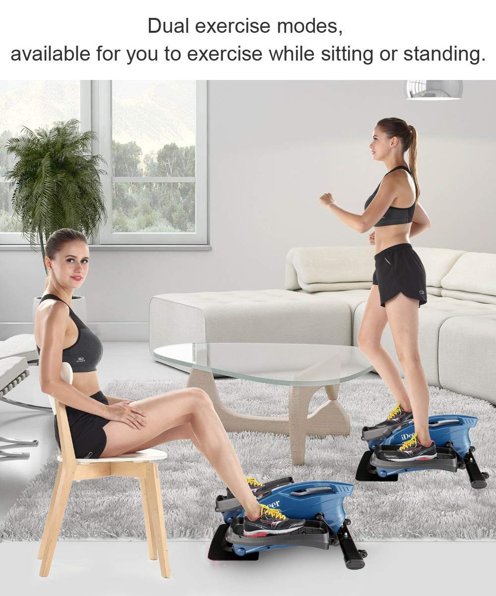 IDEER LIFE Under Desk&Stand Up Exercise Bike,Mini Elliptical Trainers Stepper Pedal w/Adjustable Resistance and LCD Display,Fitness Exercise Peddler for Home&Office Workout (Navy Bule 09026) by IDEER LIFE (Image #3)