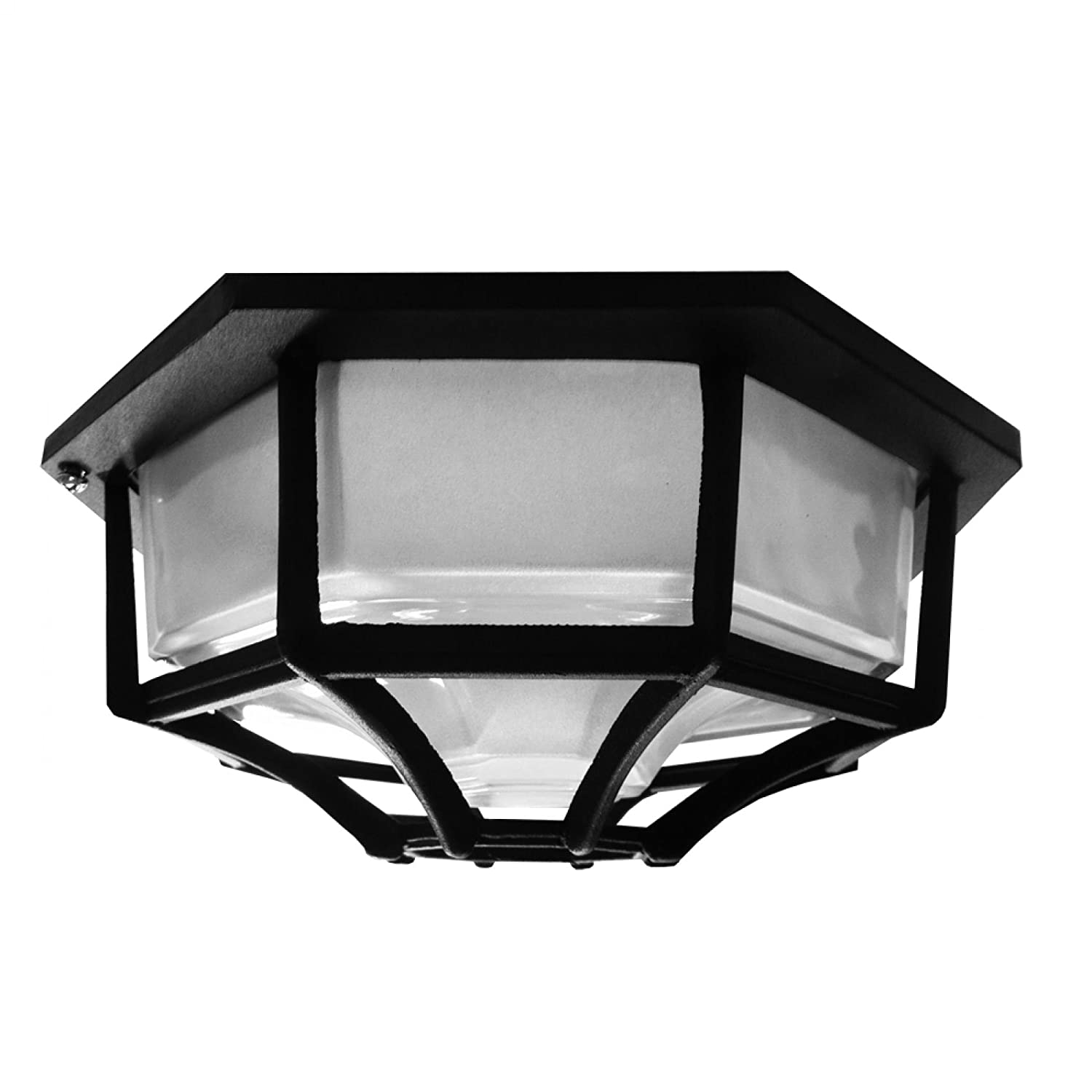 Searchlight 2942BK Hexagonal 6 sided Black IP44 Flush Porch/Outdoor Wall or Ceiling Lantern Light/Lighting