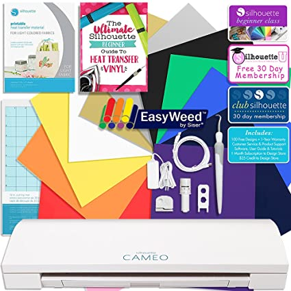 Membership Guides Swatch Book Silhouette Cameo 3 Bluetooth Heat Transfer T-Shirt Vinyl Bundle with Siser Vinyl Class