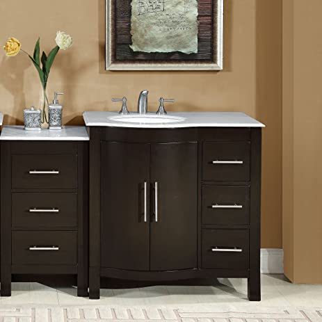 Silkroad Exclusive Esther Walnut Undermount Single Sink Bathroom Vanity  with Natural Marble Top (Common: