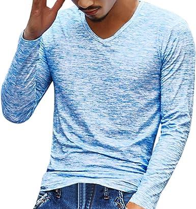 Camisas Hombre Camiseta de Manga Larga con Cuello en V para Hombre Camisa Hombre Originales Ropa Deportiva Camisetas Casual Tops Blusa Basicas ❤️ Modaworld: Amazon.es: Ropa y accesorios