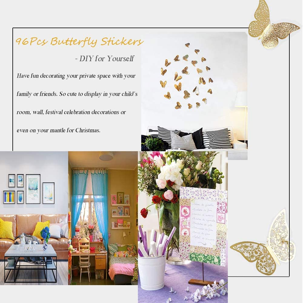 Metallic 3D Art Mural Decoration DIY Flying Decor for Kids Bedroom Home Party Nursery Classroom Offices D/écor Creatiees 96Pcs Butterfly Wall Sticker Decal Removable /& Multi-Style Silver