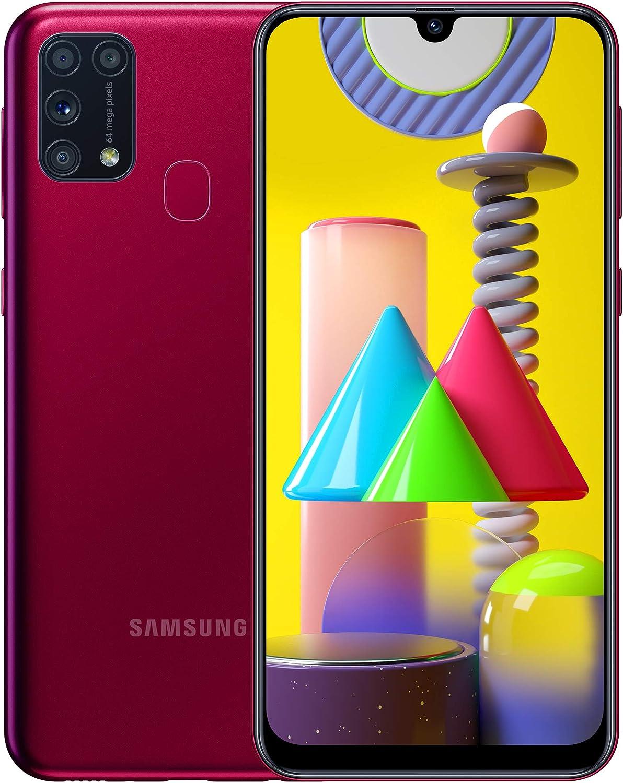 Samsung Galaxy M31 - Smartphone Portable débloqué 4G (Ecran 6,4 pouces - 64 Go - Double Nano-SIM - Android) - Version Française - Rouge