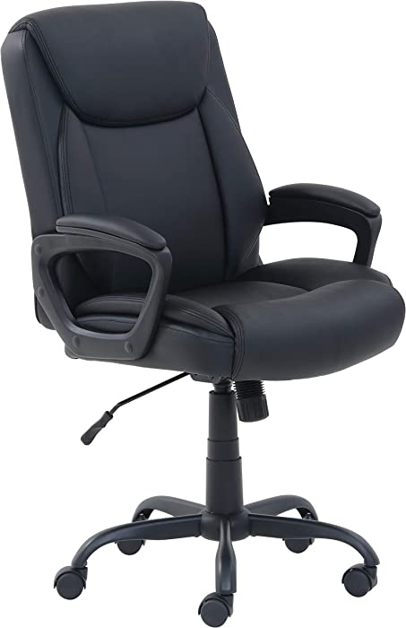 AmazonBasics Classic Puresoft PU-Padded Mid-Back Office Computer Desk Chair with Armrest - Black, BIFMA Certified