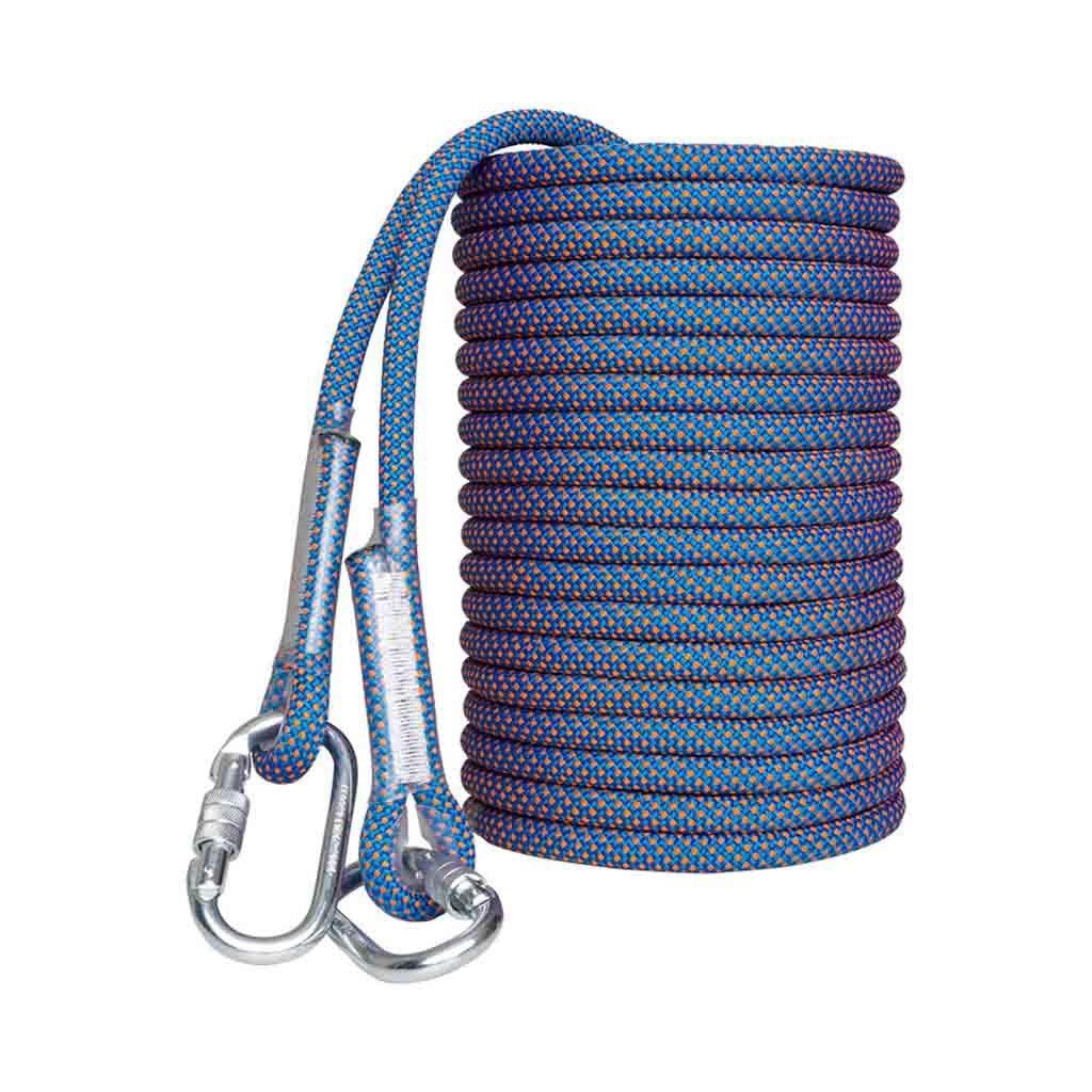 10m équipement d'escalade Corde de sécurité grimpante antidérapante bleue anti-usure, corde de secours avec une force de traction statique de 3800kg, corde à chute rapide en soie polyester haute résistanc