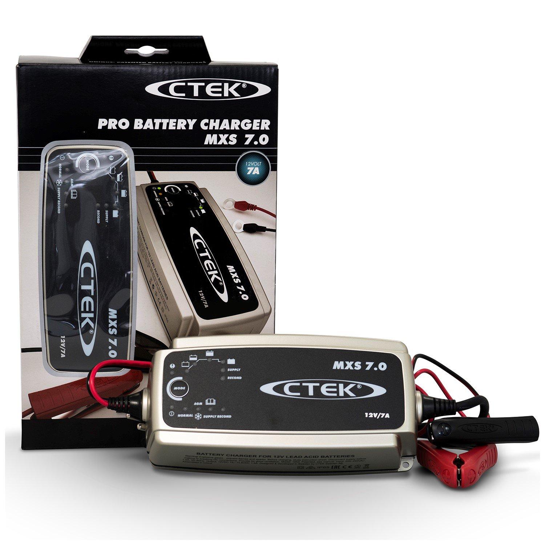 CTEK MXS 7.0 Cargador de batería Completamente automático (Carga, Mantiene y reacondiciona Las baterias Coche, Remolque, Autocaravana) 12V, 7 amperios ...