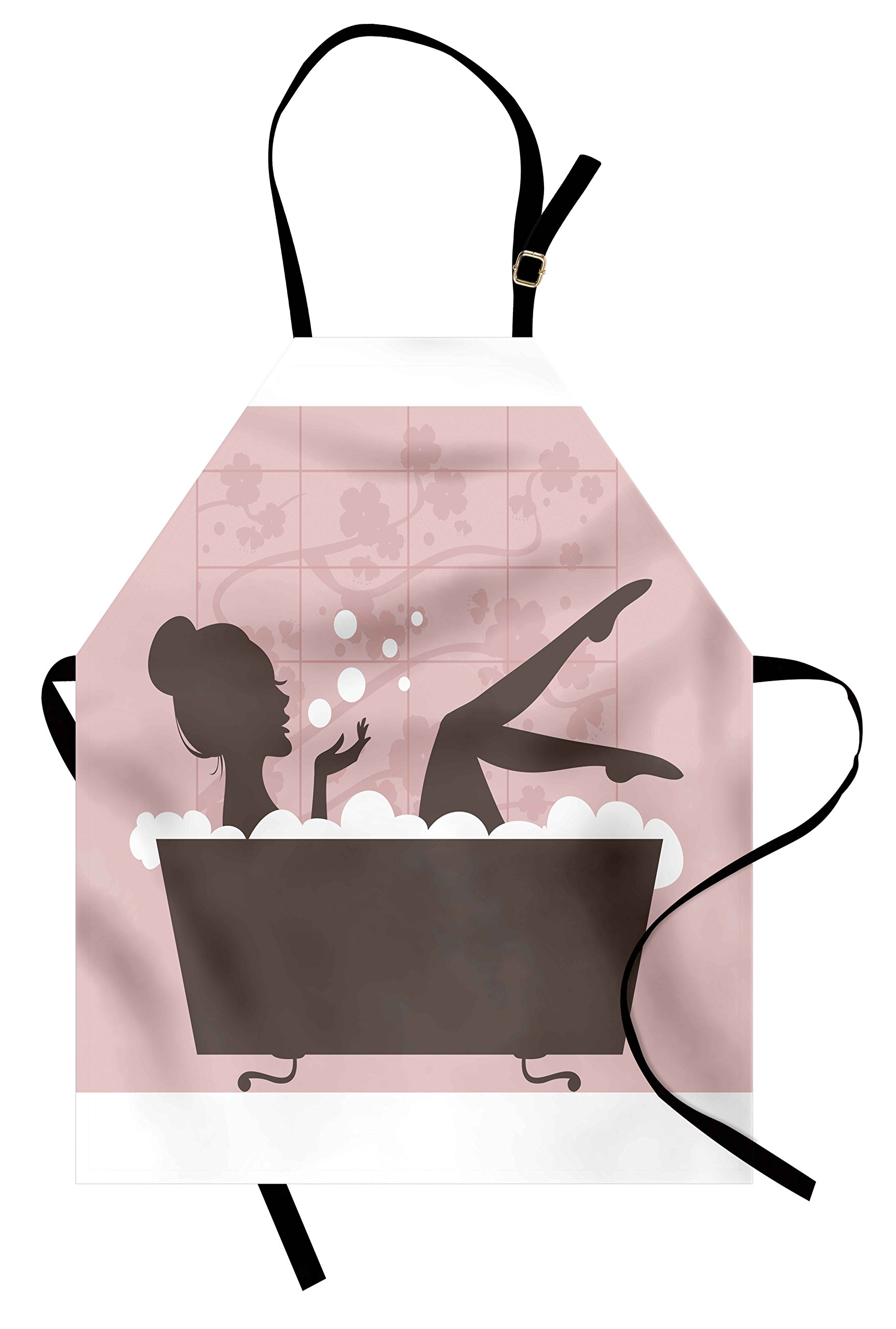 Lunarable Teens Girls Apron, Beautiful Woman in Bath Tub Spa Treatment Relaxing Concept Vintage Style, Unisex Kitchen Bib Apron with Adjustable Neck for Cooking Baking Gardening, Pink Dark Grey