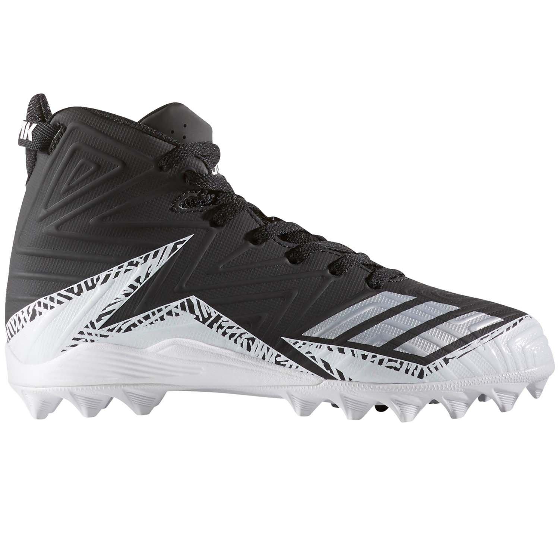adidas Men's Freak X Carbon Mid Football Shoe, Black/Metallic Silver/White, 2 Medium US Big Kid by adidas